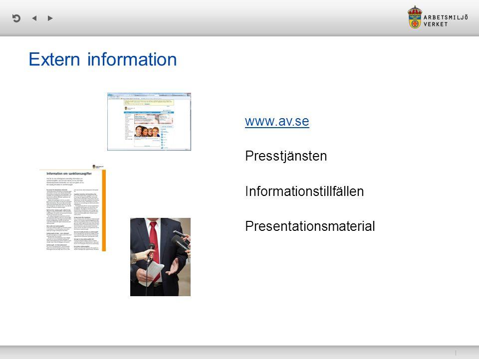 | Extern information www.av.se www.av.se Presstjänsten Informationstillfällen Presentationsmaterial
