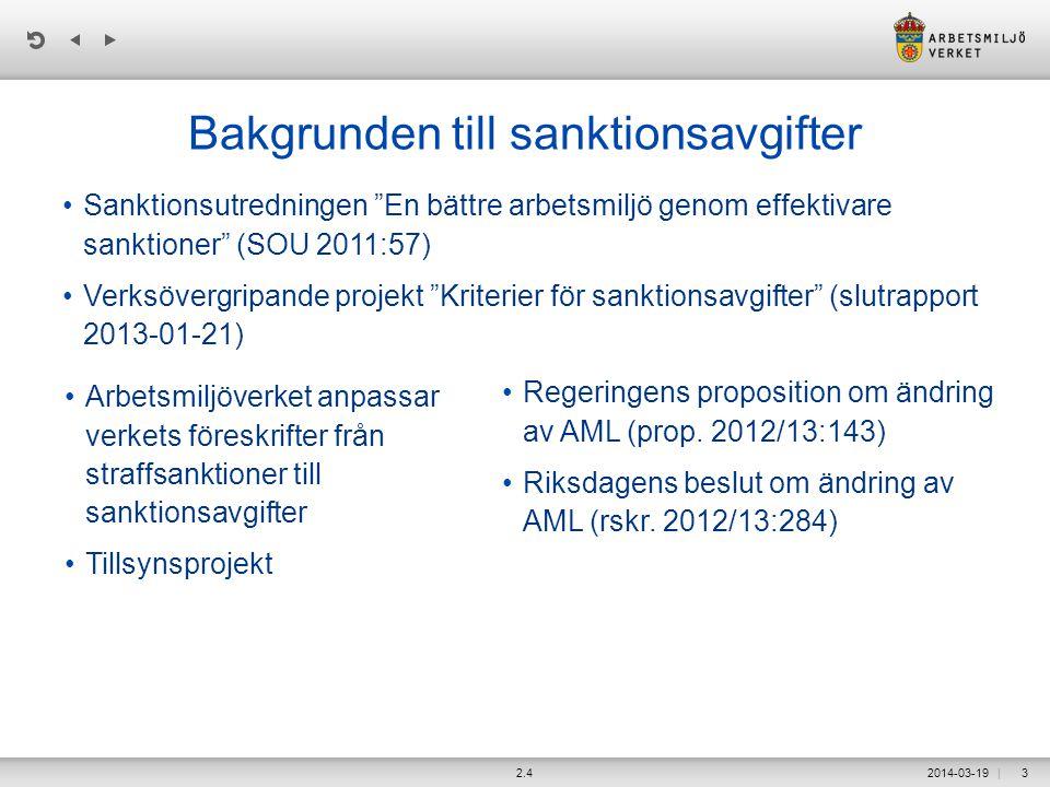 | Bakgrunden till sanktionsavgifter Sanktionsutredningen En bättre arbetsmiljö genom effektivare sanktioner (SOU 2011:57) Verksövergripande projekt Kriterier för sanktionsavgifter (slutrapport 2013-01-21) 3 Regeringens proposition om ändring av AML (prop.
