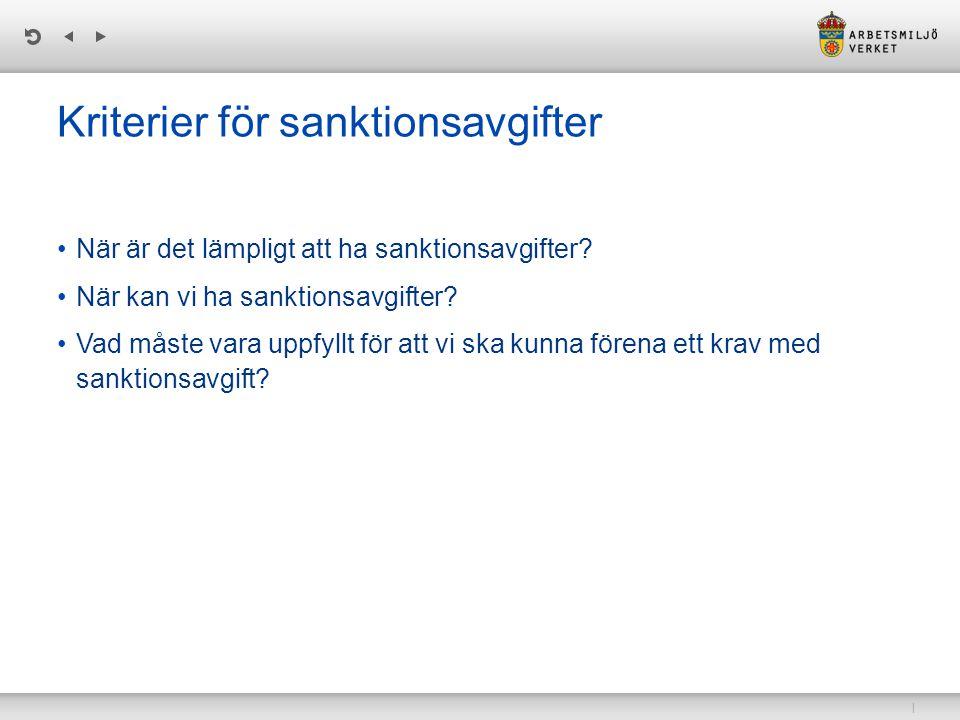 | Kriterier för sanktionsavgifter När är det lämpligt att ha sanktionsavgifter.