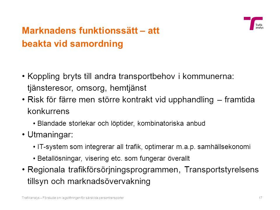 Marknadens funktionssätt – att beakta vid samordning Koppling bryts till andra transportbehov i kommunerna: tjänsteresor, omsorg, hemtjänst Risk för f