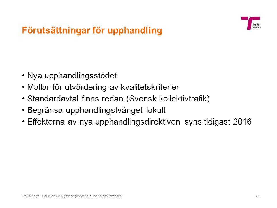 Förutsättningar för upphandling Nya upphandlingsstödet Mallar för utvärdering av kvalitetskriterier Standardavtal finns redan (Svensk kollektivtrafik)