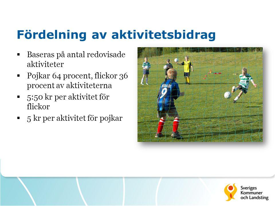 Fördelning av aktivitetsbidrag  Baseras på antal redovisade aktiviteter  Pojkar 64 procent, flickor 36 procent av aktiviteterna  5:50 kr per aktivi