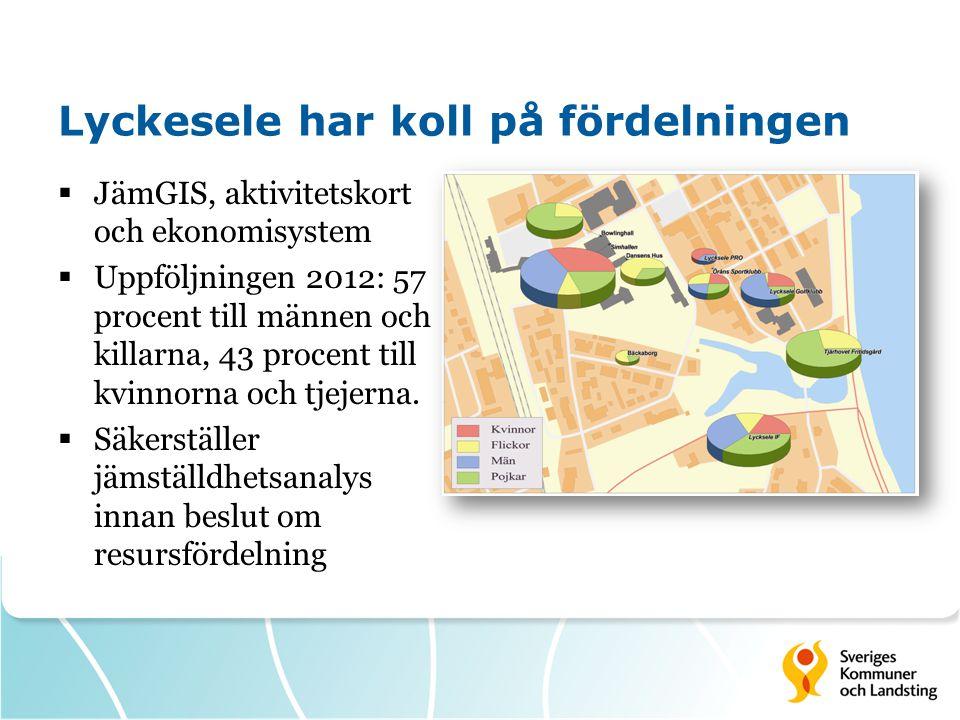 Lyckesele har koll på fördelningen  JämGIS, aktivitetskort och ekonomisystem  Uppföljningen 2012: 57 procent till männen och killarna, 43 procent ti