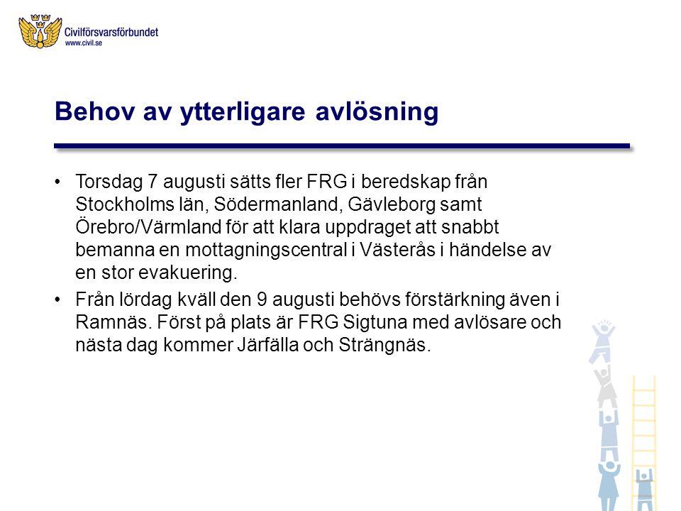 Torsdag 7 augusti sätts fler FRG i beredskap från Stockholms län, Södermanland, Gävleborg samt Örebro/Värmland för att klara uppdraget att snabbt bema