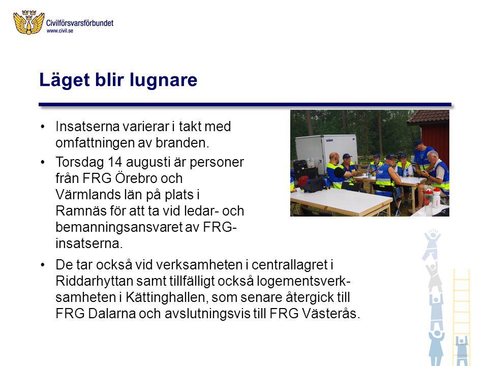 Insatserna varierar i takt med omfattningen av branden. Torsdag 14 augusti är personer från FRG Örebro och Värmlands län på plats i Ramnäs för att ta