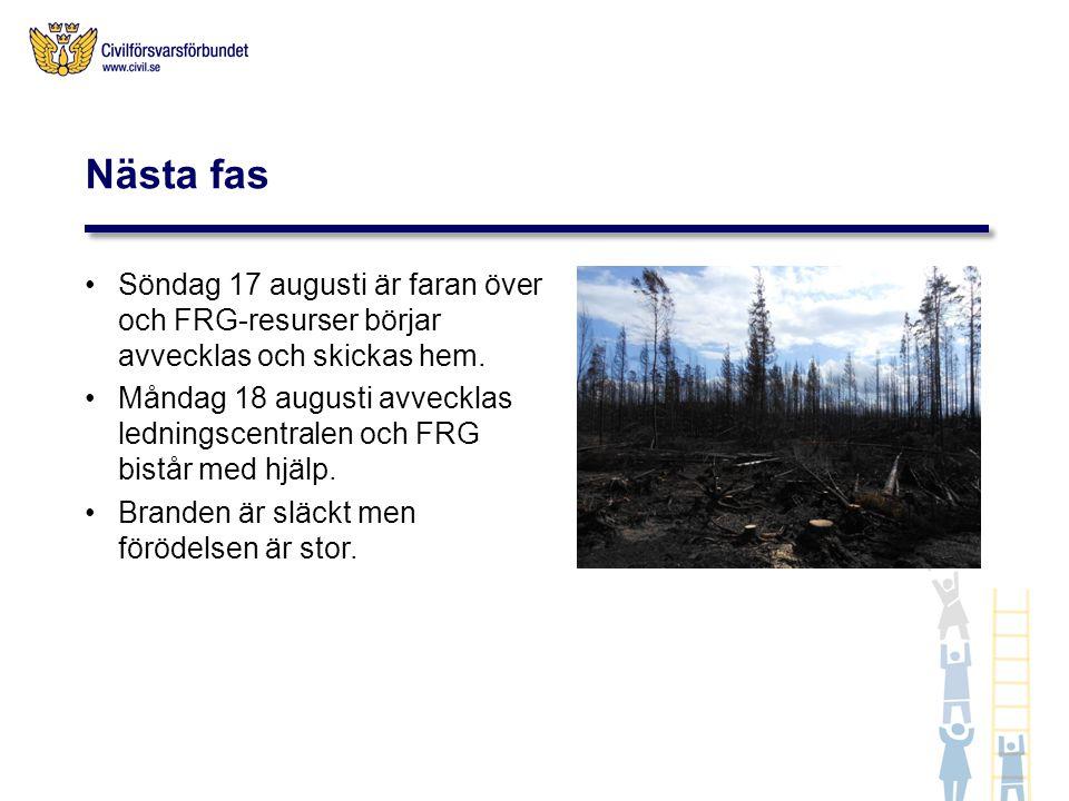 Söndag 17 augusti är faran över och FRG-resurser börjar avvecklas och skickas hem. Måndag 18 augusti avvecklas ledningscentralen och FRG bistår med hj
