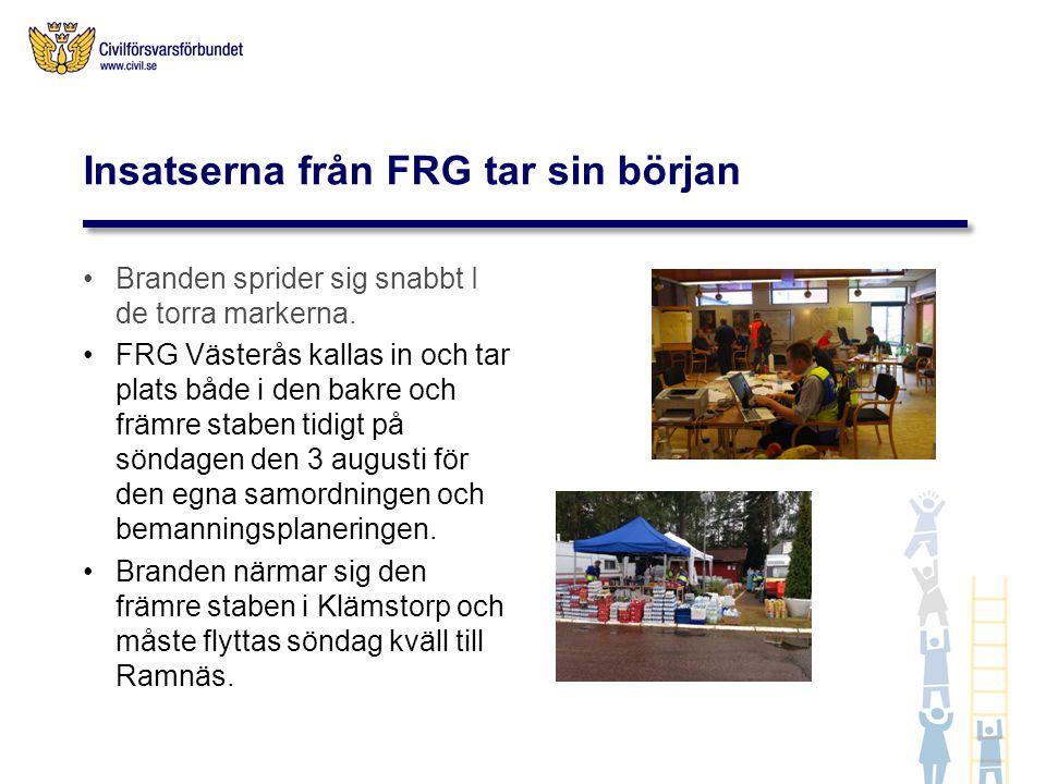 Insatserna från FRG tar sin början Branden sprider sig snabbt I de torra markerna. FRG Västerås kallas in och tar plats både i den bakre och främre st
