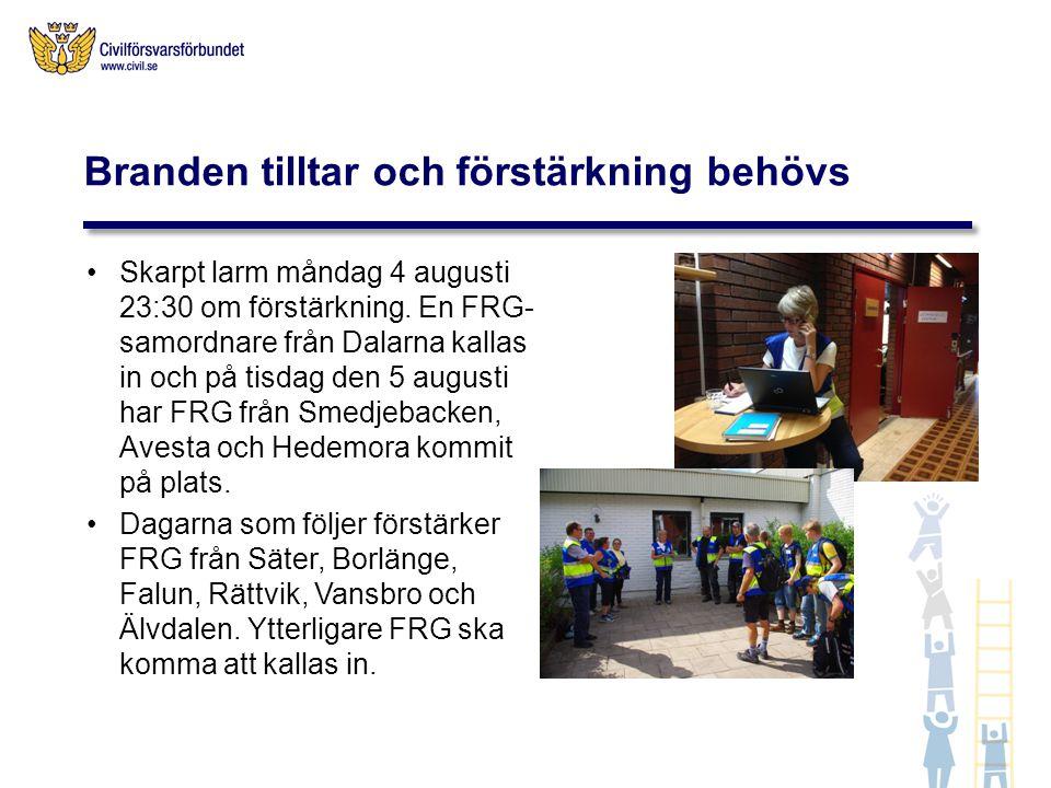 Torsdag 7 augusti sätts fler FRG i beredskap från Stockholms län, Södermanland, Gävleborg samt Örebro/Värmland för att klara uppdraget att snabbt bemanna en mottagningscentral i Västerås i händelse av en stor evakuering.