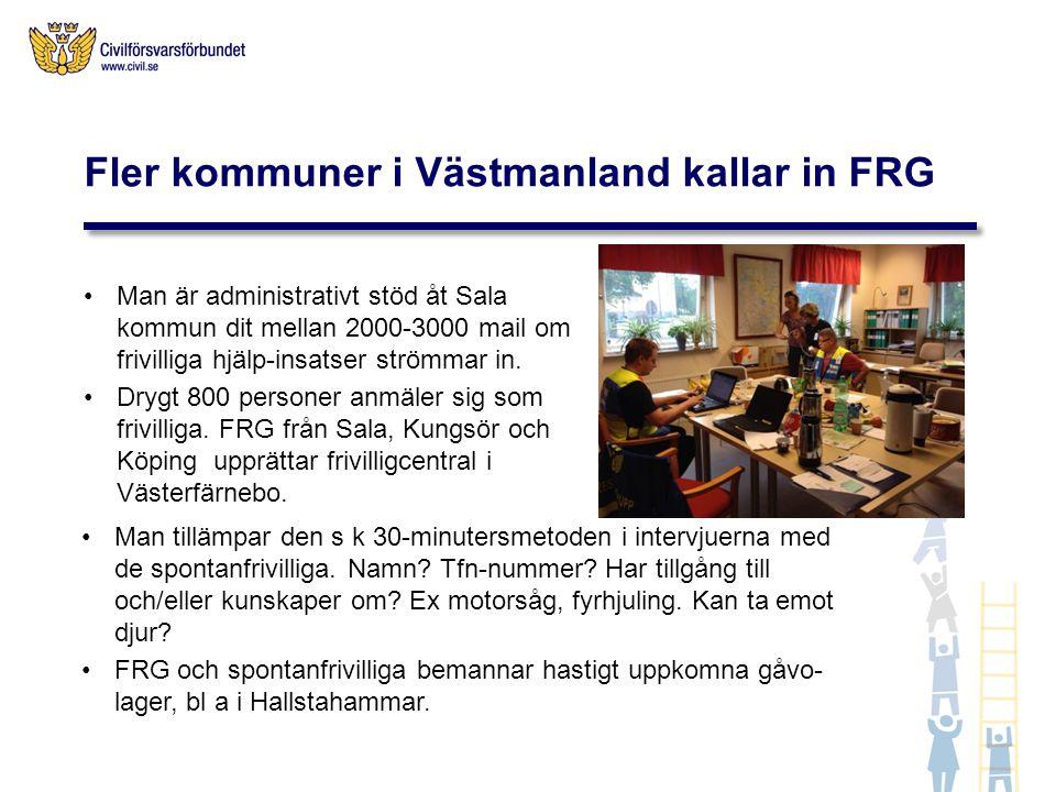 Infocentraler upprättas av FRG Norra Västmanland i Norberg och Fagersta.