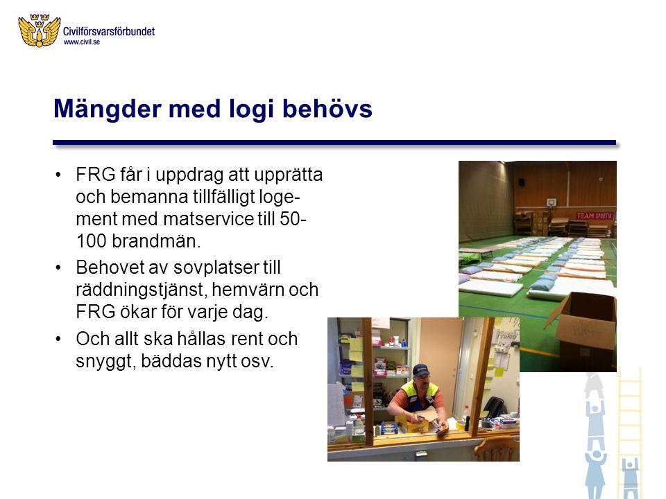 FRG får i uppdrag att upprätta och bemanna tillfälligt loge- ment med matservice till 50- 100 brandmän.