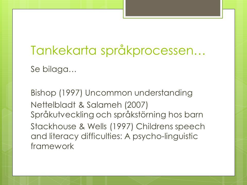 Stöd till föräldrar  Samtal med förskolepersonal, logoped, BHV- psykolog viktiga inslag i föräldrarnas bearbetningsprocess  I ett tidigt skede svårt att veta vad barnets språkförsening kommer att innebära: övergående försening …..