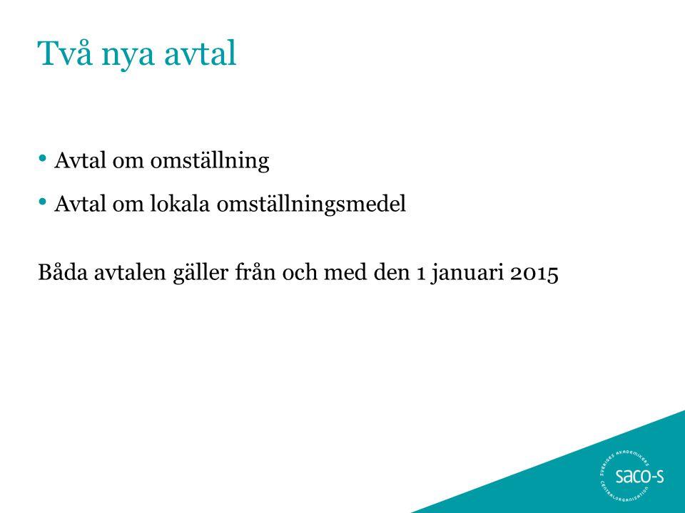 Två nya avtal Avtal om omställning Avtal om lokala omställningsmedel Båda avtalen gäller från och med den 1 januari 2015