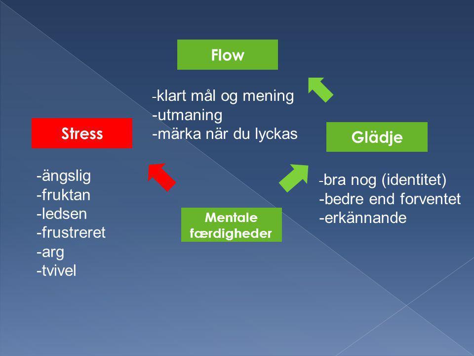 Stress Glädje Mentale færdigheder Flow -ängslig -fruktan -ledsen -frustreret -arg -tvivel - bra nog (identitet) -bedre end forventet -erkännande - klart mål og mening -utmaning -märka när du lyckas