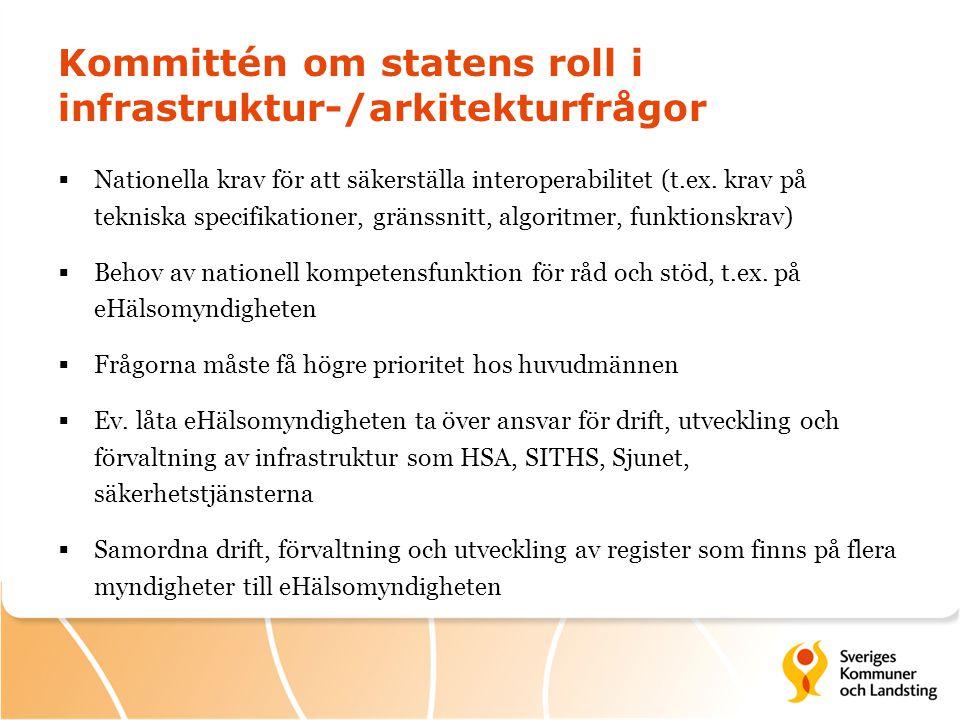 Kommittén om statens roll i infrastruktur-/arkitekturfrågor  Nationella krav för att säkerställa interoperabilitet (t.ex. krav på tekniska specifikat