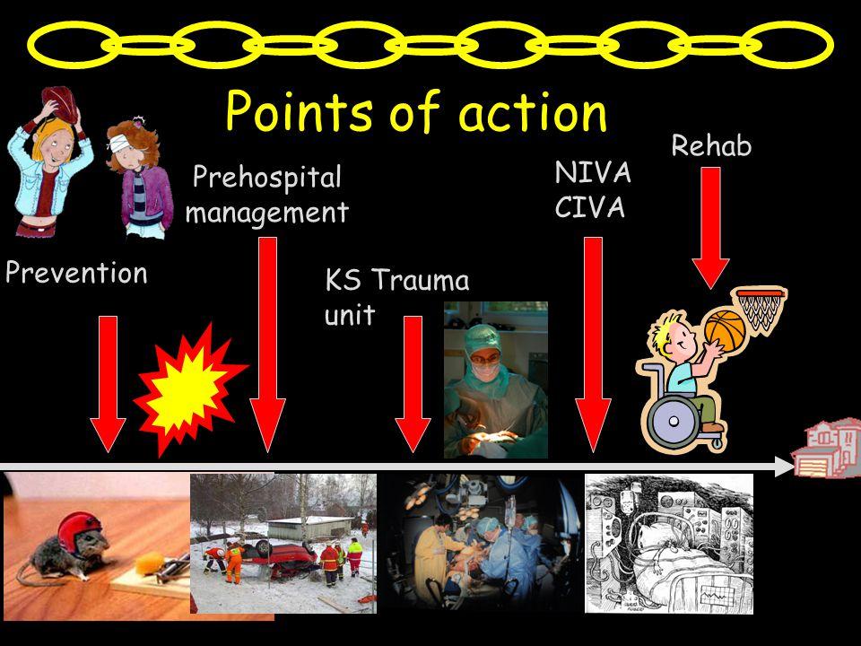 KS Trauma unit NIVA CIVA Points of action Rehab Prevention Prehospital management