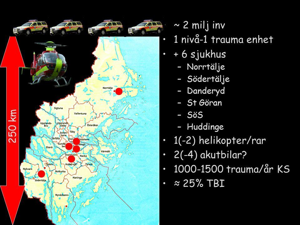 ~ 2 milj inv 1 nivå-1 trauma enhet + 6 sjukhus –Norrtälje –Södertälje –Danderyd –St Göran –SöS –Huddinge 1(-2) helikopter/rar 2(-4) akutbilar? 1000-15