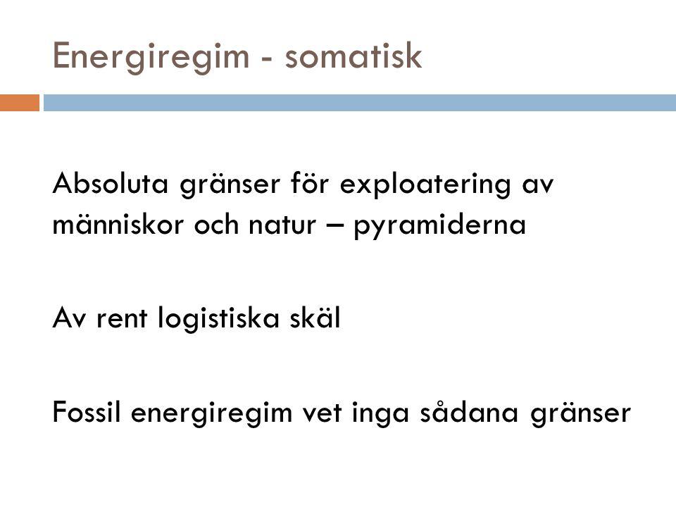 Energiregim - somatisk Absoluta gränser för exploatering av människor och natur – pyramiderna Av rent logistiska skäl Fossil energiregim vet inga såda