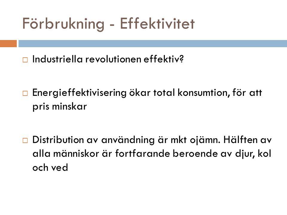 Förbrukning - Effektivitet  Industriella revolutionen effektiv?  Energieffektivisering ökar total konsumtion, för att pris minskar  Distribution av