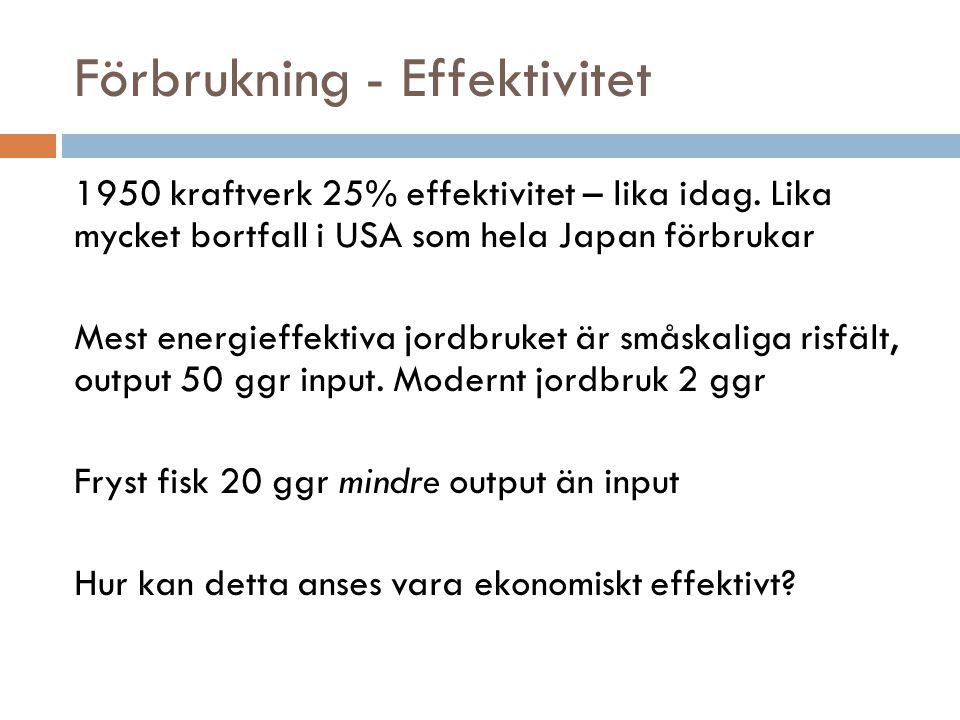 Förbrukning - Effektivitet 1950 kraftverk 25% effektivitet – lika idag. Lika mycket bortfall i USA som hela Japan förbrukar Mest energieffektiva jordb