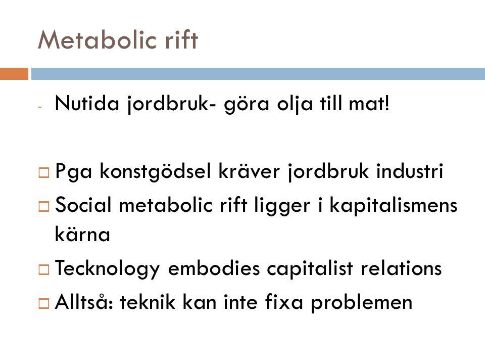 Metabolic rift - Nutida jordbruk- göra olja till mat!  Pga konstgödsel kräver jordbruk industri  Social metabolic rift ligger i kapitalismens kärna