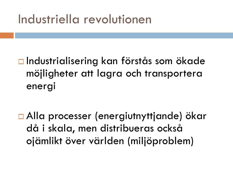 Industriella revolutionen  Industrialisering kan förstås som ökade möjligheter att lagra och transportera energi  Alla processer (energiutnyttjande)