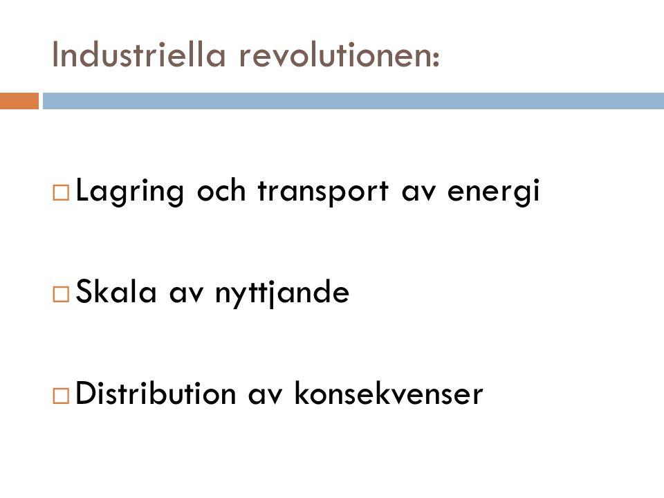 Industriella revolutionen:  Lagring och transport av energi  Skala av nyttjande  Distribution av konsekvenser