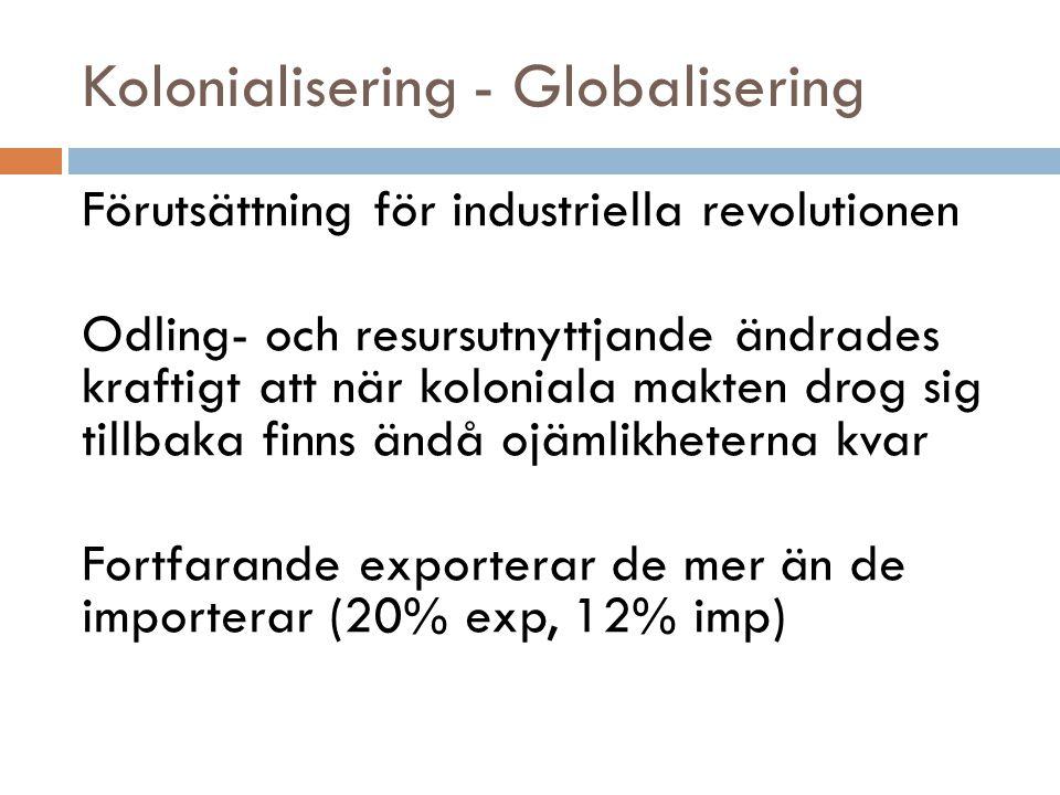 Kolonialisering - Globalisering Förutsättning för industriella revolutionen Odling- och resursutnyttjande ändrades kraftigt att när koloniala makten d