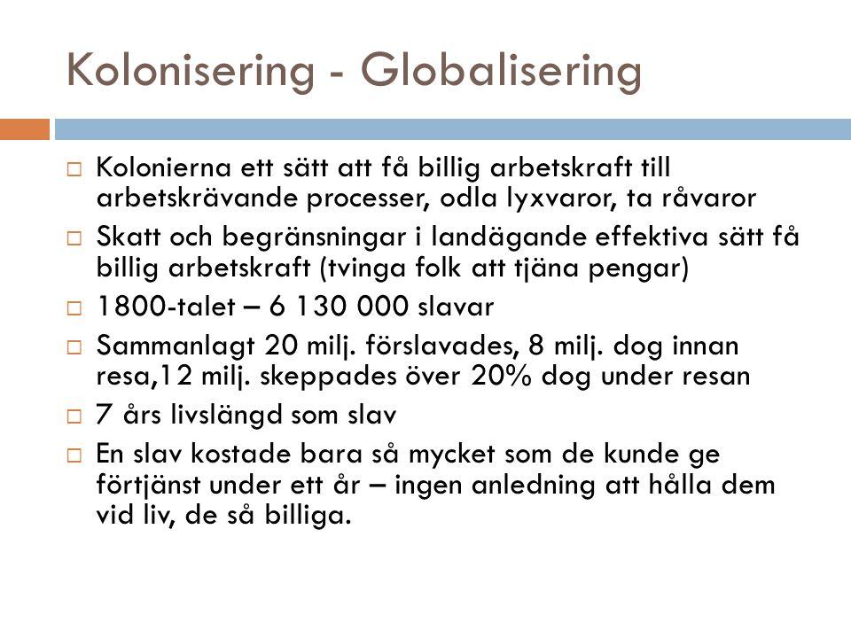 Kolonisering - Globalisering  Kolonierna ett sätt att få billig arbetskraft till arbetskrävande processer, odla lyxvaror, ta råvaror  Skatt och begr