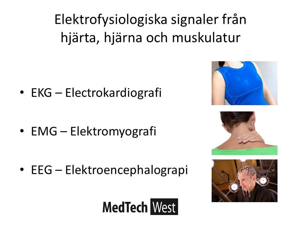 EKG – Electrokardiografi EMG – Elektromyografi EEG – Elektroencephalograpi Elektrofysiologiska signaler från hjärta, hjärna och muskulatur