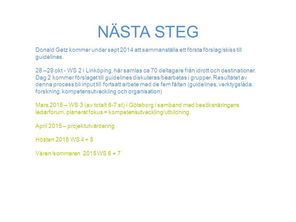 NÄSTA STEG Donald Getz kommer under sept 2014 att sammanställa ett första förslag/skiss till guidelines.