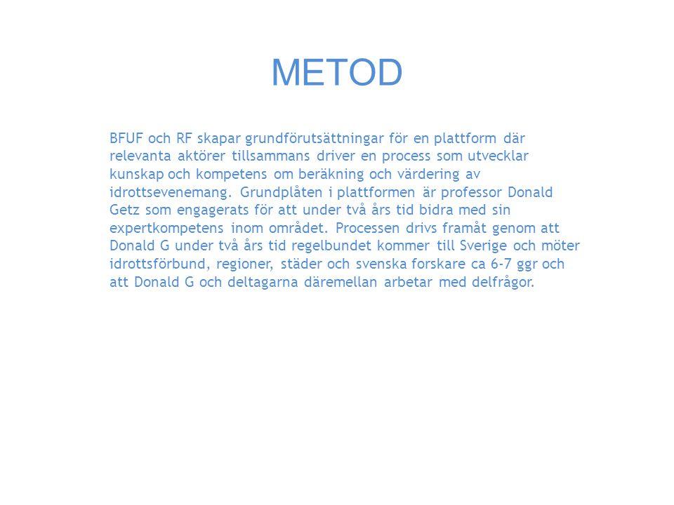 METOD BFUF och RF skapar grundförutsättningar för en plattform där relevanta aktörer tillsammans driver en process som utvecklar kunskap och kompetens om beräkning och värdering av idrottsevenemang.