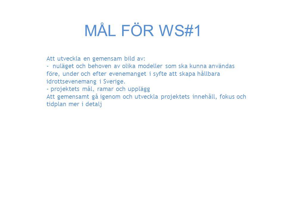 MÅL FÖR WS#1 Att utveckla en gemensam bild av: - nuläget och behoven av olika modeller som ska kunna användas före, under och efter evenemanget i syfte att skapa hållbara idrottsevenemang i Sverige.