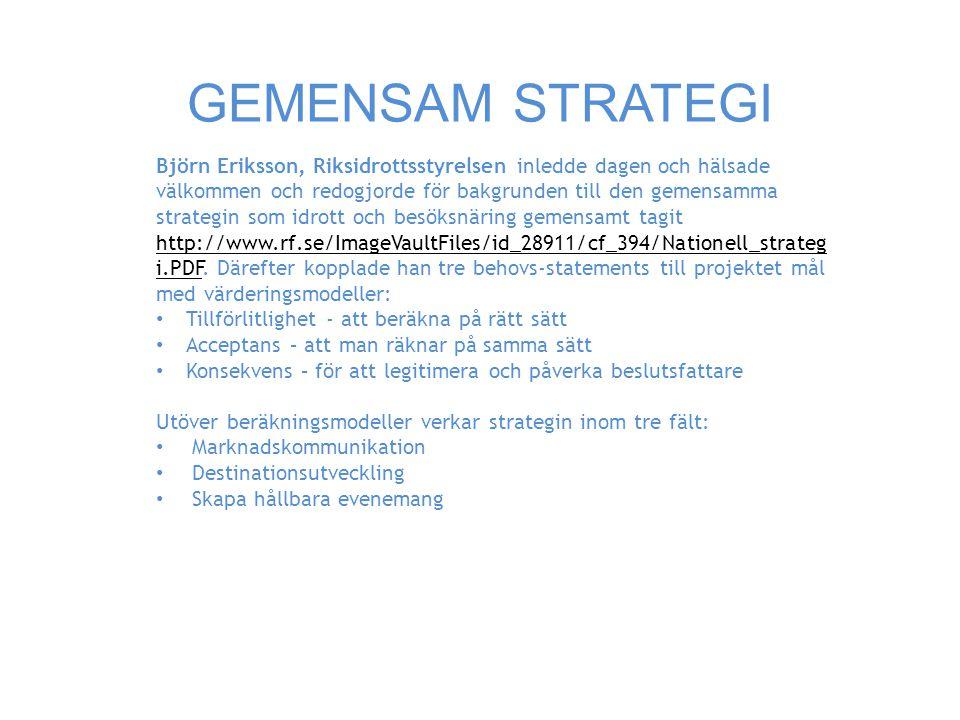 GEMENSAM STRATEGI Björn Eriksson, Riksidrottsstyrelsen inledde dagen och hälsade välkommen och redogjorde för bakgrunden till den gemensamma strategin som idrott och besöksnäring gemensamt tagit http://www.rf.se/ImageVaultFiles/id_28911/cf_394/Nationell_strateg i.PDF.