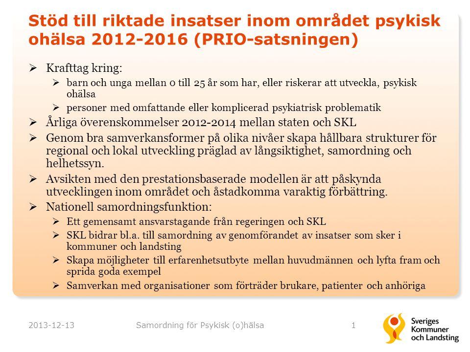 Långsiktighet, samordning och helhetssyn  SKL:s långsiktiga gemensamma handlingsplan Psykisk hälsa 2012-2016  Regeringens PRIO-plan psykisk ohälsa 2012-2016  Syftet är att skapa en långsiktig struktur i det nationella stödet i utveckling av den psykiatriska vården och omsorgen  Samverkan mellan huvudmännen utgör en central beståndsdel i planerna 2013-12-13Samordning för Psykisk (o)hälsa2