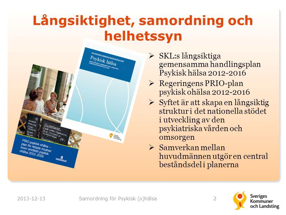 Målsättning med satsningen 2013-12-13Samordning för Psykisk (o)hälsa3 Genom bra samverkansformer på olika nivåer skapa hållbara strukturer för regional och lokal utveckling präglad av långsiktighet, samordning och helhetssyn:  En jämlik, kunskapsbaserad, säker och tillgänglig vård och omsorg av god kvalitet  Tillgång till arbete och sysselsättning  Möjlighet till delaktighet och inflytande
