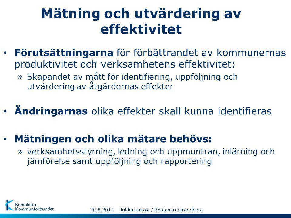 Mätning och utvärdering av effektivitet Förutsättningarna för förbättrandet av kommunernas produktivitet och verksamhetens effektivitet: »Skapandet av