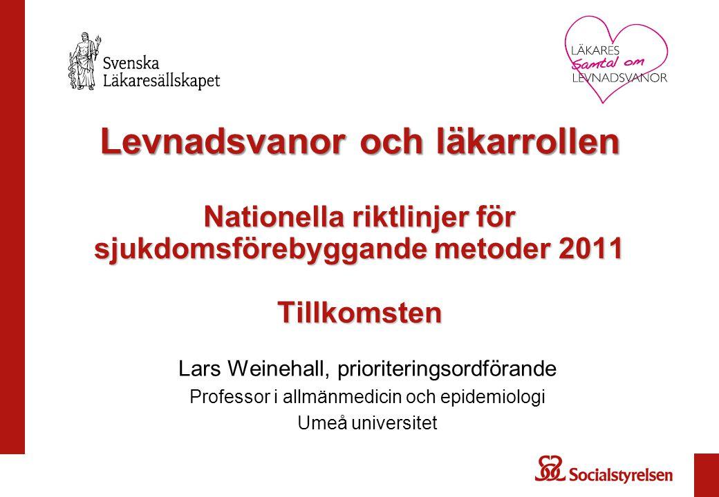 Levnadsvanor och läkarrollen Nationella riktlinjer för sjukdomsförebyggande metoder 2011 Tillkomsten Lars Weinehall, prioriteringsordförande Professor i allmänmedicin och epidemiologi Umeå universitet