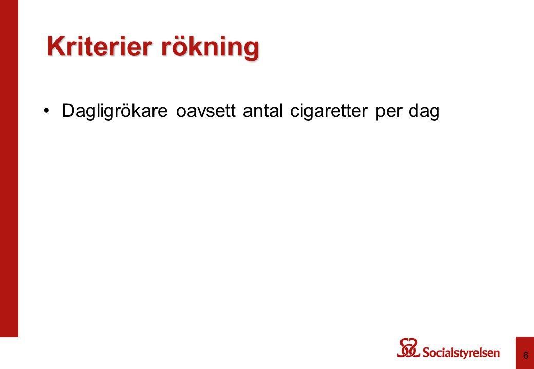 Kriterier riskbruk av alkohol 7 Återspeglar genomsnittlig konsumtion och intensivkonsumtion.
