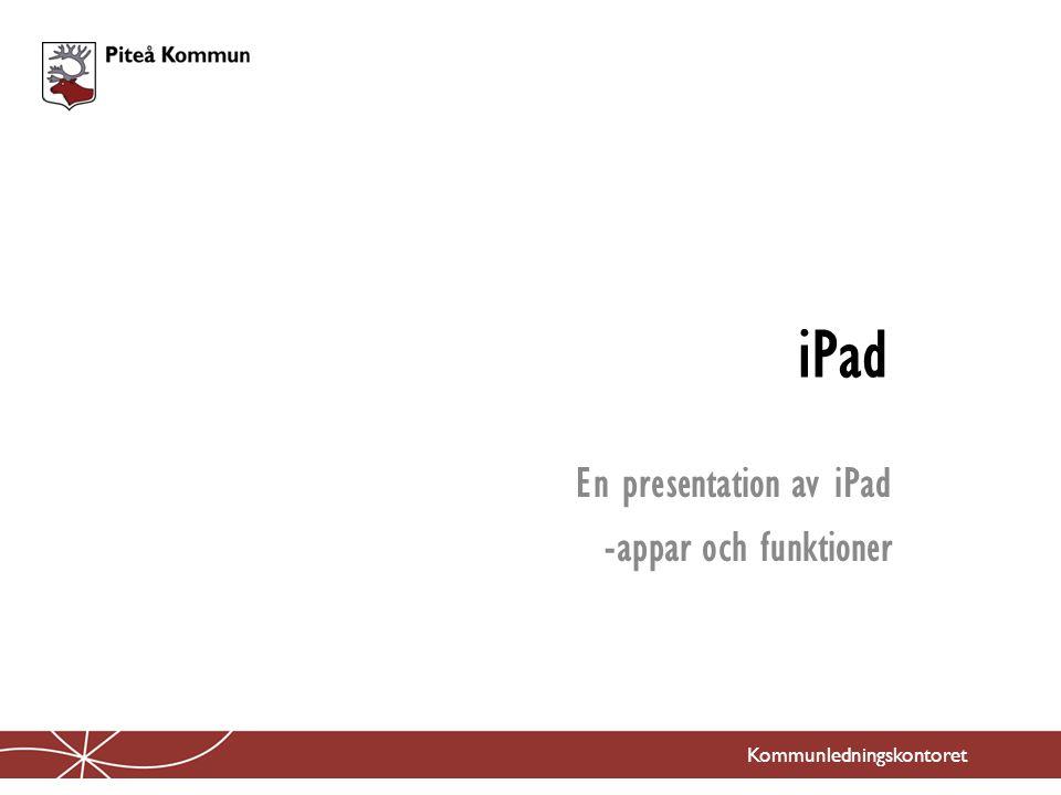 iPad En presentation av iPad -appar och funktioner Kommunledningskontoret
