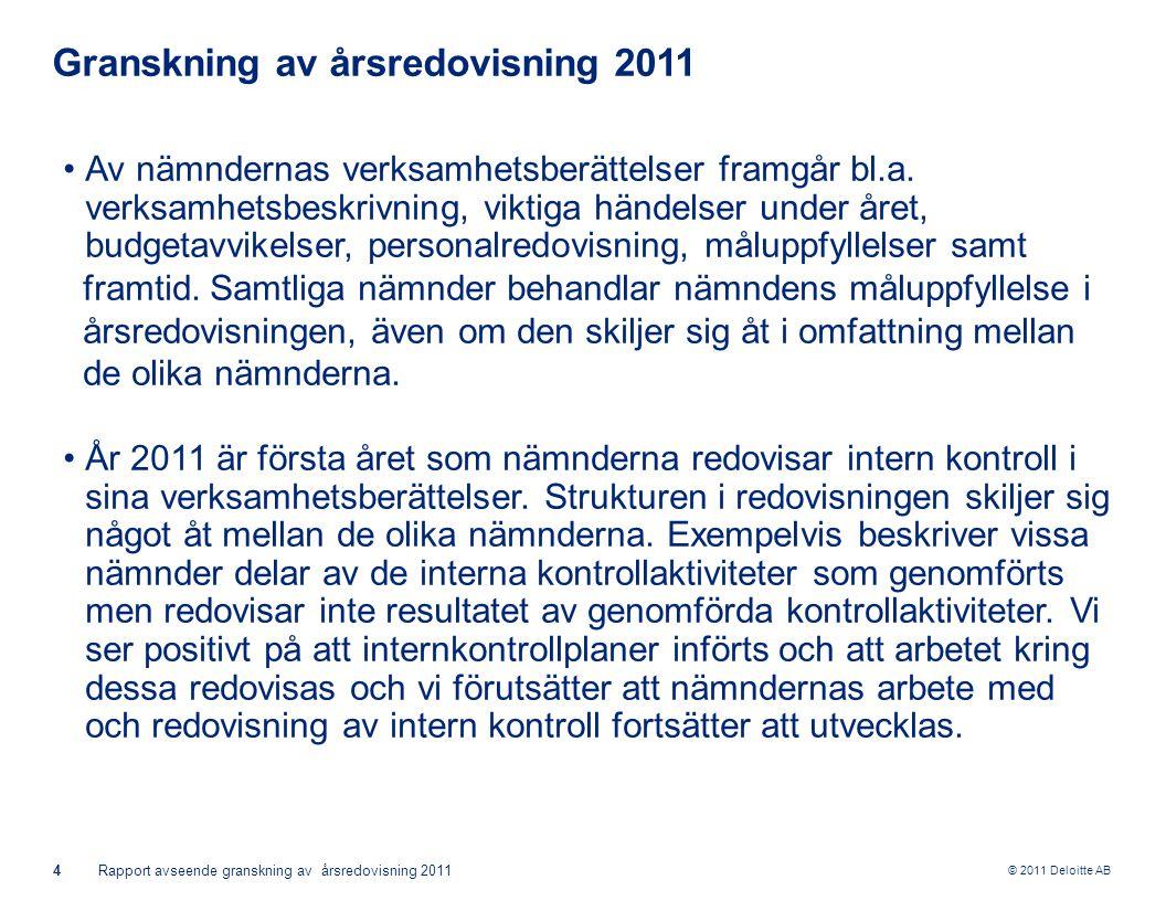 © 2011 Deloitte AB 4Rapport avseende granskning av årsredovisning 2011 Granskning av årsredovisning 2011 Av nämndernas verksamhetsberättelser framgår