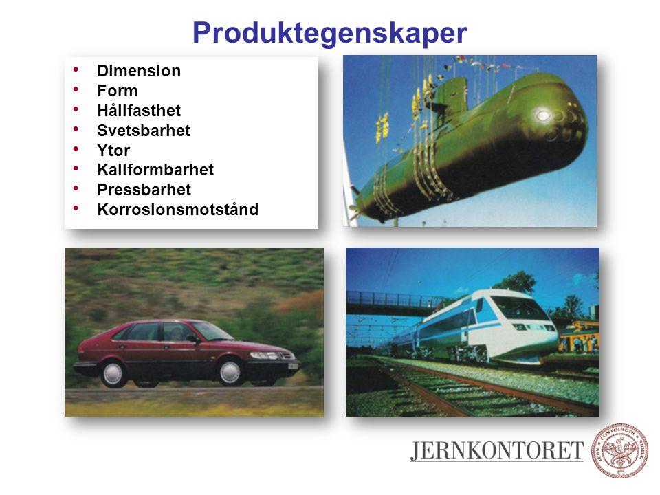Produktegenskaper Dimension Form Hållfasthet Svetsbarhet Ytor Kallformbarhet Pressbarhet Korrosionsmotstånd