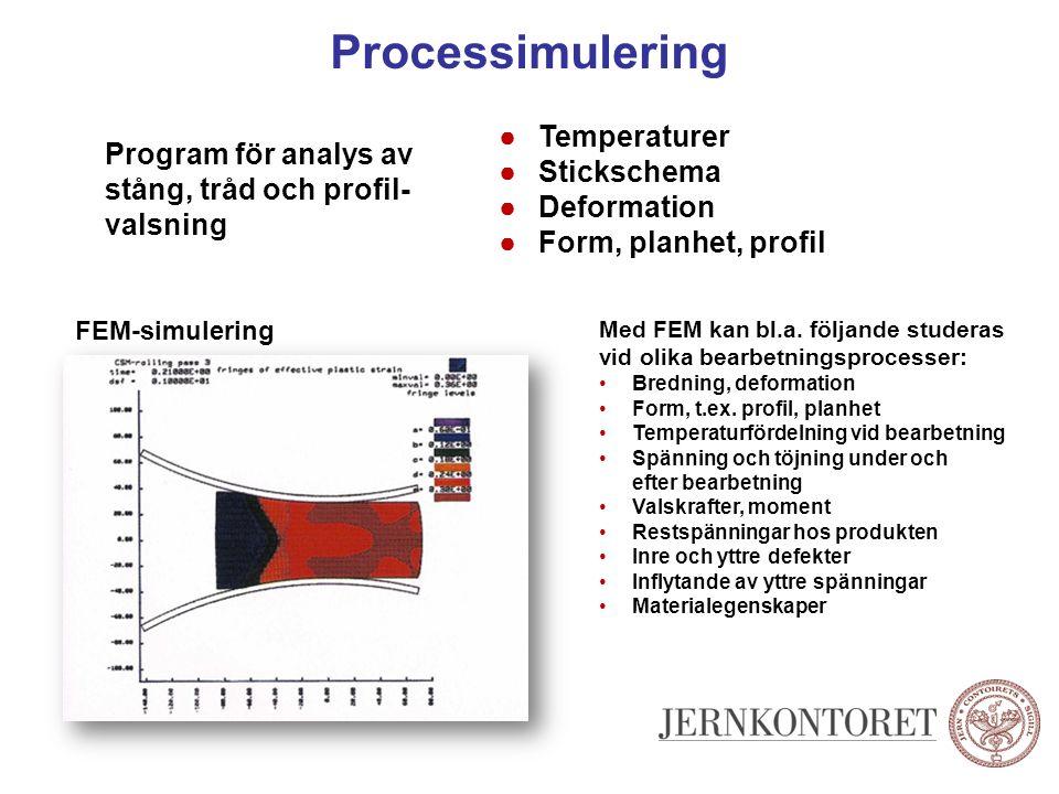 Processimulering Program för analys av stång, tråd och profil- valsning ●Temperaturer ●Stickschema ●Deformation ●Form, planhet, profil Med FEM kan bl.