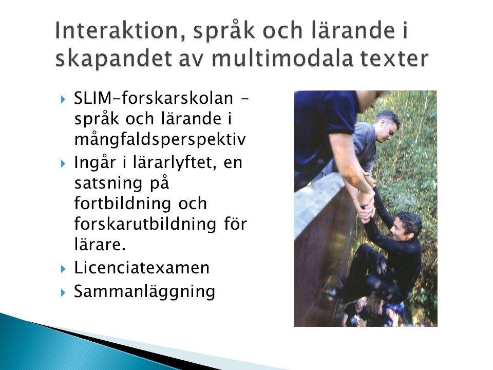  SLIM-forskarskolan – språk och lärande i mångfaldsperspektiv  Ingår i lärarlyftet, en satsning på fortbildning och forskarutbildning för lärare.