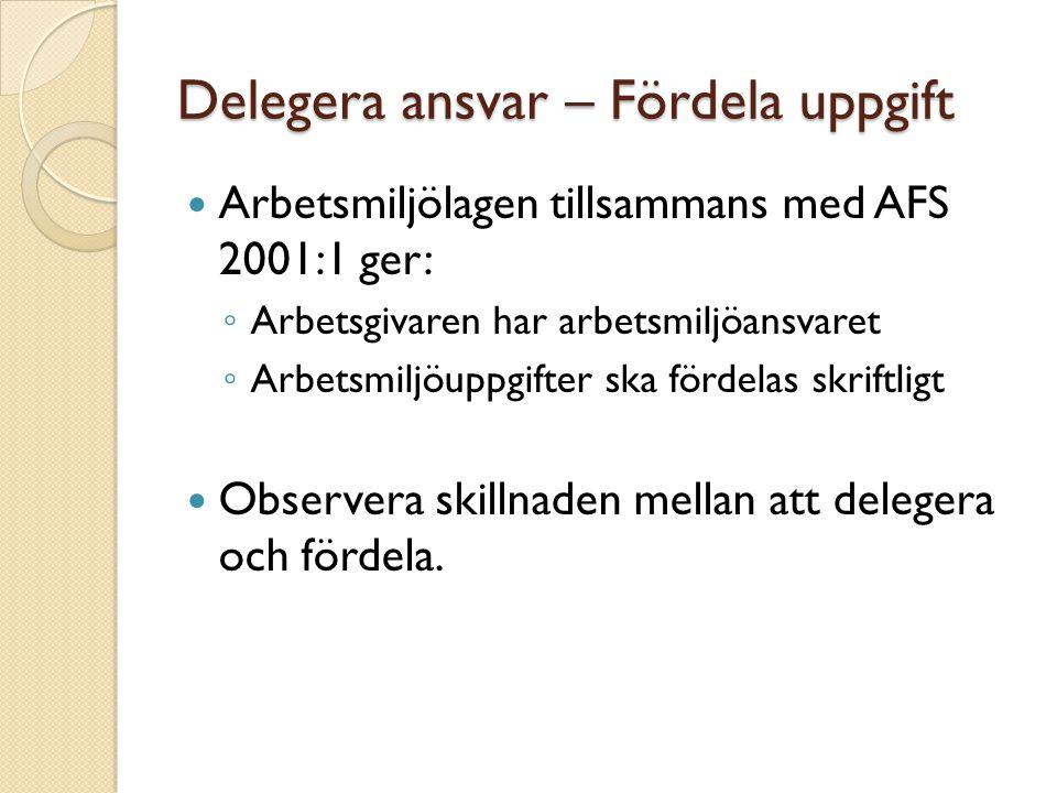 Arbetsmiljöuppgifter Arbetsuppgifter är uppgifter som behöver lösas för att uppfylla: ◦ Arbetsmiljölagen ◦ Arbetsmiljöförordningen ◦ AFS 2001:1 Systematiskt arbetsmiljöarbete ◦ Samtliga AFS:er ◦ De åtgärder som krävs för att minska risker som blivit identifierade i riskbedömningar enligt AFS 2001:1 och andra AFS:er