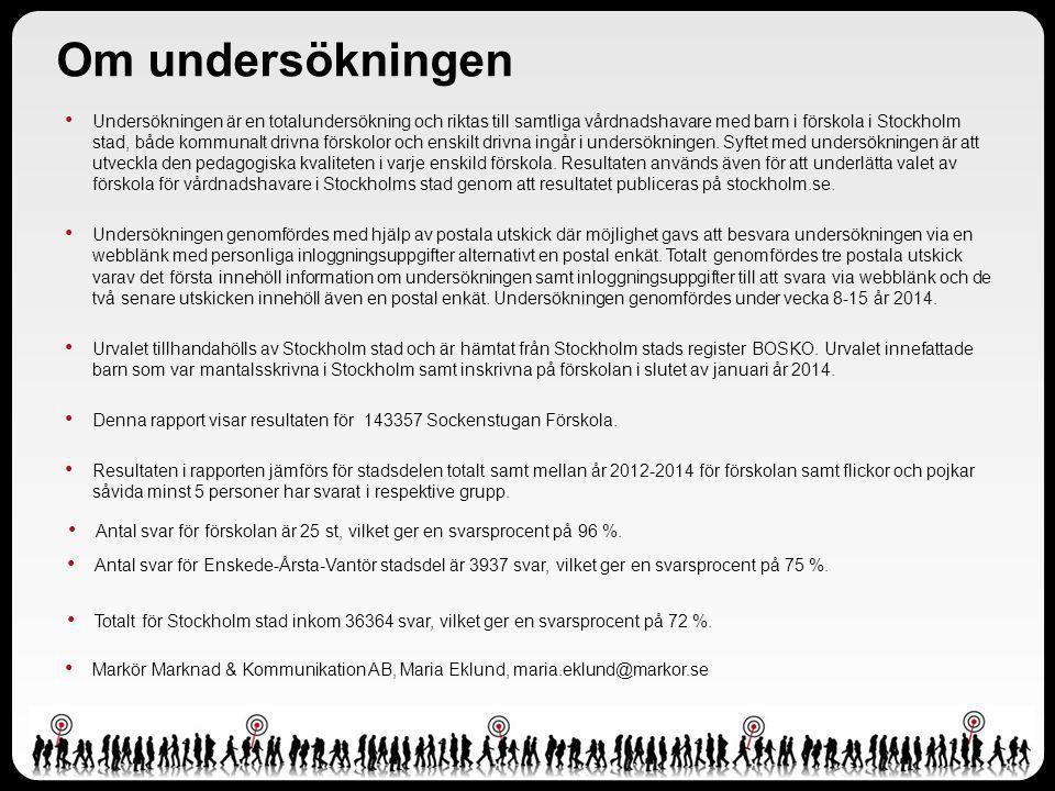 Undersökningen är en totalundersökning och riktas till samtliga vårdnadshavare med barn i förskola i Stockholm stad, både kommunalt drivna förskolor och enskilt drivna ingår i undersökningen.