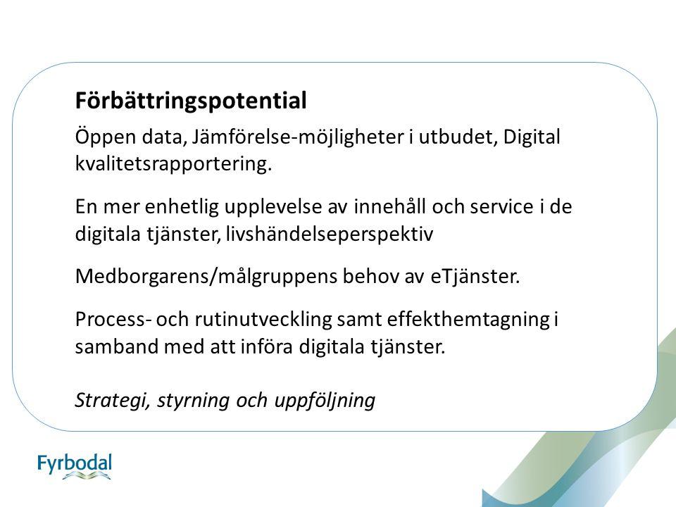 Öppen data, Jämförelse-möjligheter i utbudet, Digital kvalitetsrapportering. En mer enhetlig upplevelse av innehåll och service i de digitala tjänster