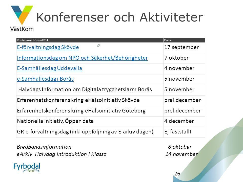 26 Bredbandsinformation 8 oktober eArkivHalvdag introduktion i Klassa 14 november Konferenser hösten 2014Datum E-förvaltningsdag Skövde17 september In
