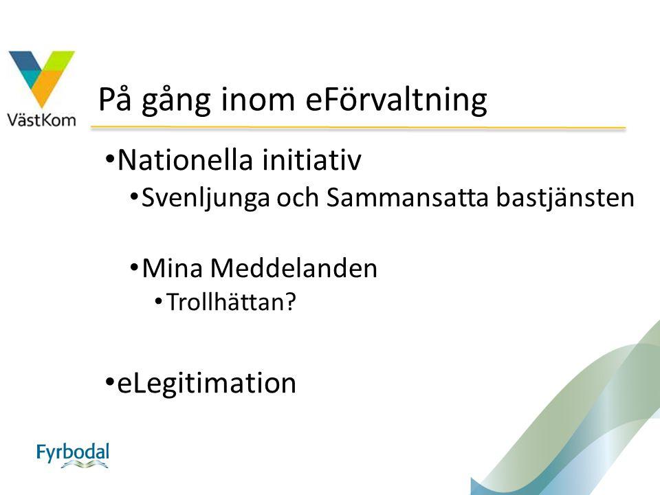 På gång inom eFörvaltning Nationella initiativ Svenljunga och Sammansatta bastjänsten Mina Meddelanden Trollhättan? eLegitimation