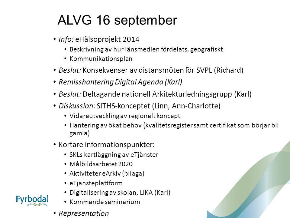ALVG 16 september Info: eHälsoprojekt 2014 Beskrivning av hur länsmedlen fördelats, geografiskt Kommunikationsplan Beslut: Konsekvenser av distansmöte
