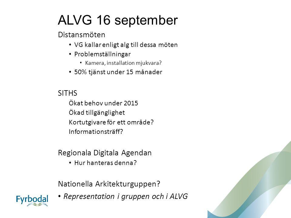 ALVG 16 september Distansmöten VG kallar enligt alg till dessa möten Problemställningar Kamera, installation mjukvara? 50% tjänst under 15 månader SIT